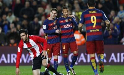 Drei Freunde: Lionel Messi, Neymar und Luis Suarez.