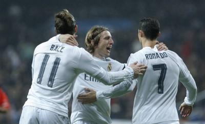 Cristiano Ronaldo, Gareth Bale und Luca Modric von Real Madrid.