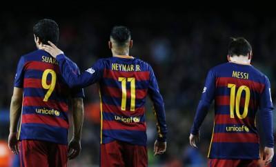 Luis Suarez, Neymar und Lionel Messi im Spiel des FC Barcelona gegen Celta Vigo.