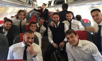 Die Mannschaft von Real Madrid hat sich bereits auf den Weg nach Manchester gemacht.
