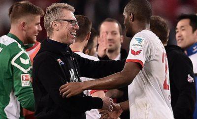 Peter Stöger und Anthony Modeste vom 1. FC Köln.