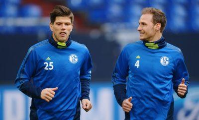 Klaas-Jan Huntelaar und Benedikt Höwedes vom FC Schalke 04.