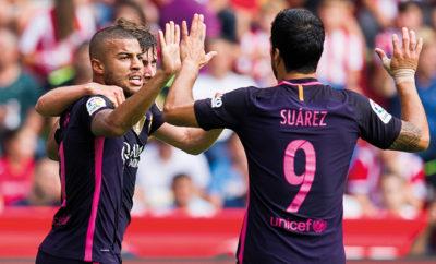 Luis Suarez und Neymar Jr. vom FC Barcelona.