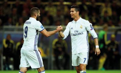 Cristiano Ronaldo und Karim Benzema von Real Madrid.
