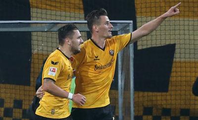 Stefan Kutschke und Pascal Testroet von Dynamo Dresden.