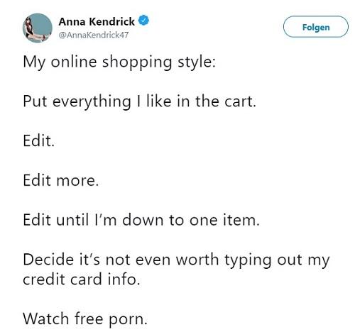 Anna Kendrick beichtet pikantes Detail: Twitter.