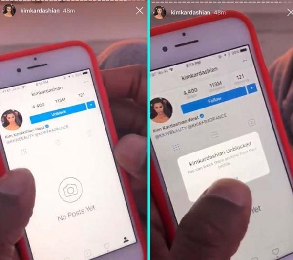Tristan Thompson entblockiert Schwester von Khloé Kardashian: Instagram Stories.