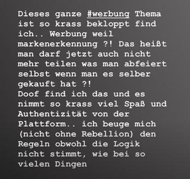Die Sängerin rebelliert: Instagram Story.