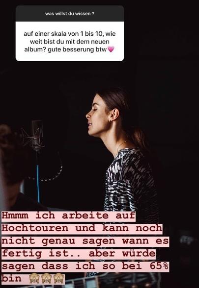 Bald ist ihr Album fertig: Instagram Stories.