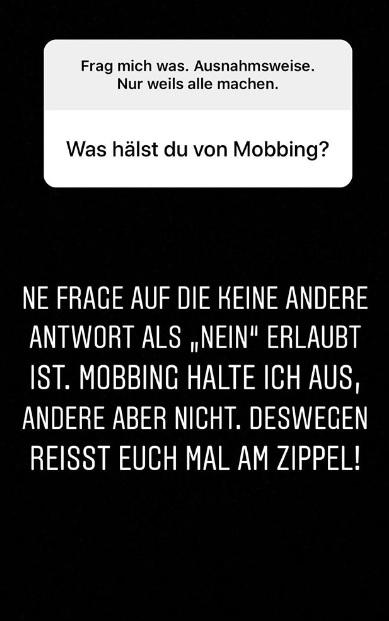 Die 28-Jährige ist ganz klar gegen Mobbing: Instagram Story.