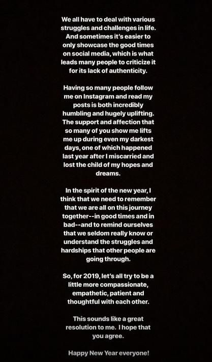 Die 31-Jährige nutzte ihr Geständnis für eine offene Ansprache: Instagram Story.